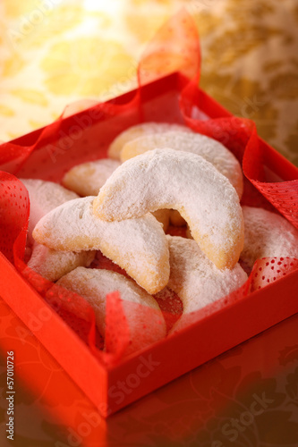 Vanilla cookies in red box- Christmas cookies