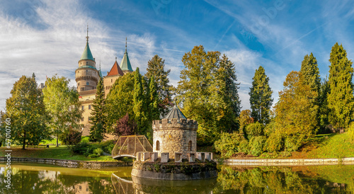 Panorama View at The Bojnice Castle with a Lake and Tower