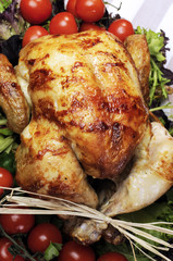 Roast chicken turkey dinner for Christmas or Thanksgviing dinner