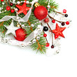 Christmas background with red Xmas decoration on white