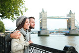 Happy couple by Tower Bridge, River Thames, London