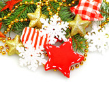 Christmas background with green fir, red star, gold decorations
