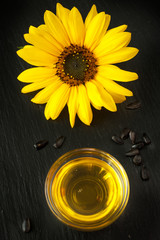 Sunflower oil and  Flower sunflower on the chalkboard