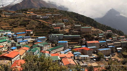 Namche Bazaar  is  tourist center at a foot of Mount Everest.