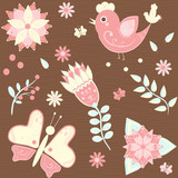background with birds, butterflies and flowers