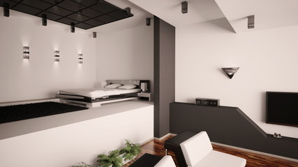 Living room and bedroom interior animation