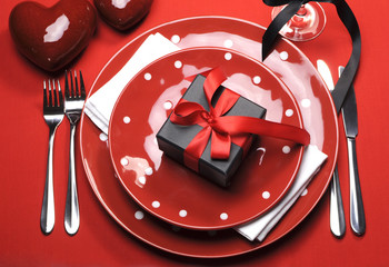 Modern romantic polka dot red Valentine table setting