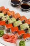 Roll Philadelphia, Unagi roll Uramaki, roll with flying fish roe