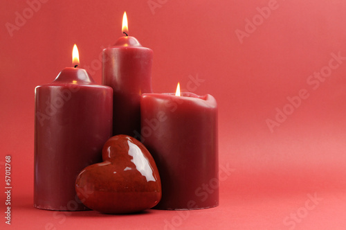 Love theme red candles and heart with copy space