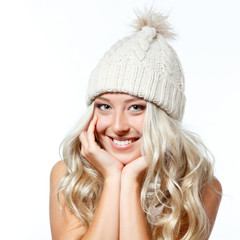 christmas girl, young beautiful smiling girl over white