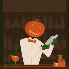 halloween pumpkin holiday behind the bar bartender making cockta