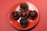 Red 'I Love You' message on heart shape muffin cupcakes