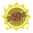Stamp with the text 50 percent Discount, written inside