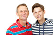 Father with son teen happy smiling over white