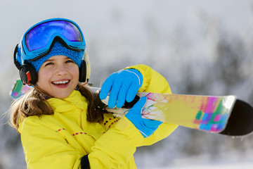 Ski, skier, winter sports - portrait of young skier