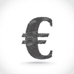 Euro symbol scribble. Vector.