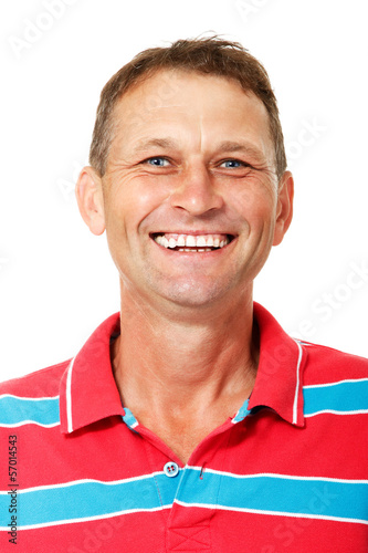 Portrait of happy smiling mature man over white background