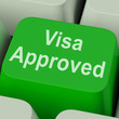 Visa Approved Key Shows Country Admission Authorized