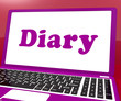 Diary Laptop Shows Online Planning Or Scheduler