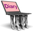 Diary Laptop Characters Show Web Appointments Or Schedule