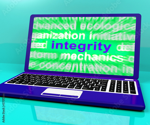 Integrity Laptop Shows Honesty Morality And Trust