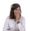 Tired call centre executive yawning at work