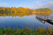 Idyllic morning lake landscape in autumn season
