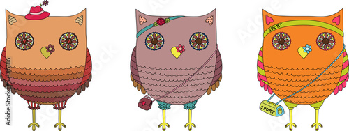 Fashion owls, cartoon illustration.