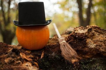 Halloween pumpkin wearing tophat