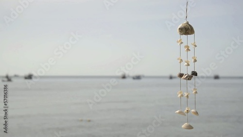 sea shell wind chime by the sea