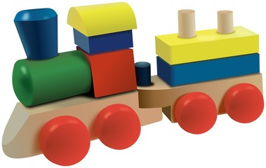Colored wooden cubes locomotive toy with wagon