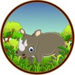 rhino with forest background