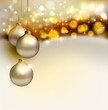 bright Christmas background with gold evening balls