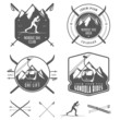 Set of nordic skiing design elements