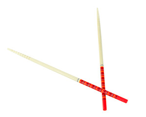 Red chopsticks isolated