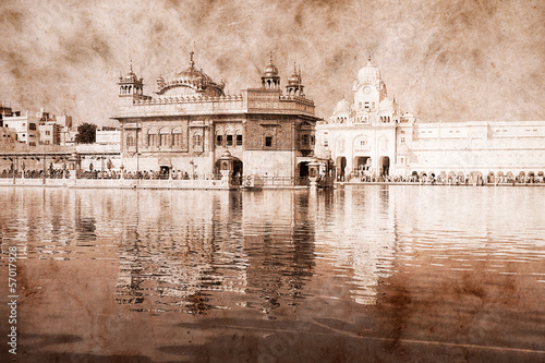 Golden Temple in Amritsar, India. Artwork in retro style.