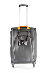 Concept of suitcase for travel and photo isolate