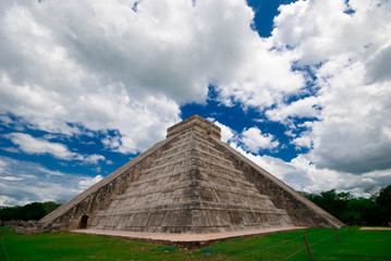The amazing clouds over the Mayan pyramid in Mexico