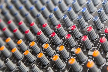Mixer knobs closeup