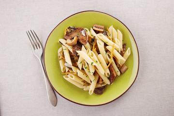 Yellow foot and red pine mushroom pasta