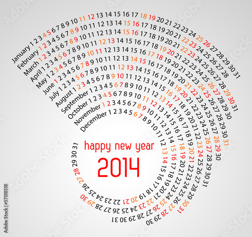 2014 calendar spiral illustration