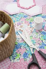 Still Life Of Quilt Making Material And Tools