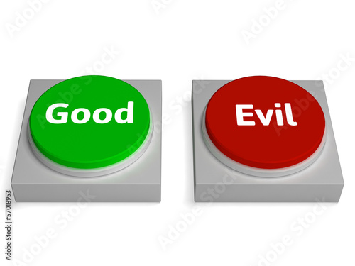 Good Evil Buttons Show Goodness Or Devil