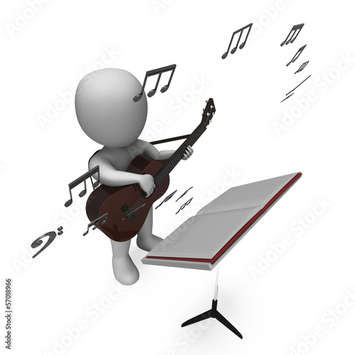 Musician Guitarist Character Shows Guitar Music And Performing
