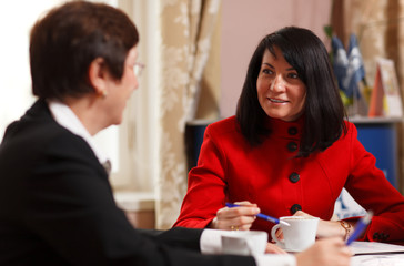 Two businesswomen in a meeting