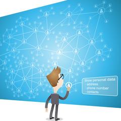Businessman, social network, control, data,