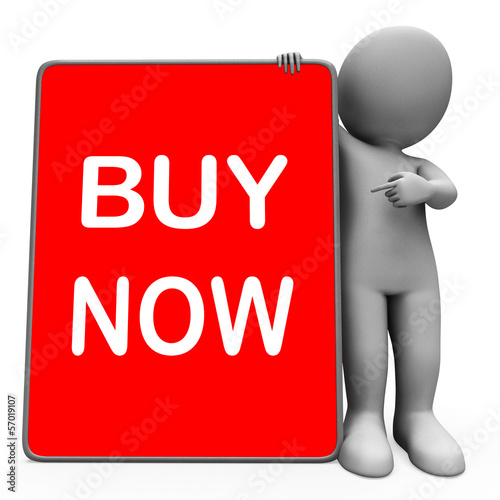 Buy Now Character Tablet Showing Buy And Purchase Immediately
