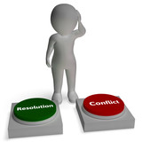 Conflict Resolution Buttons Show War Or Reconciliation