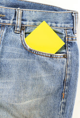 jeans pocket with blank paper note
