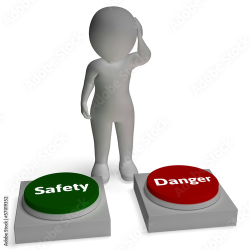 Danger Safety Buttons Shows Hazard Or Dangerous